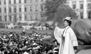 Sufferagette Emily Pankhurst at London's Trafalgar Square
